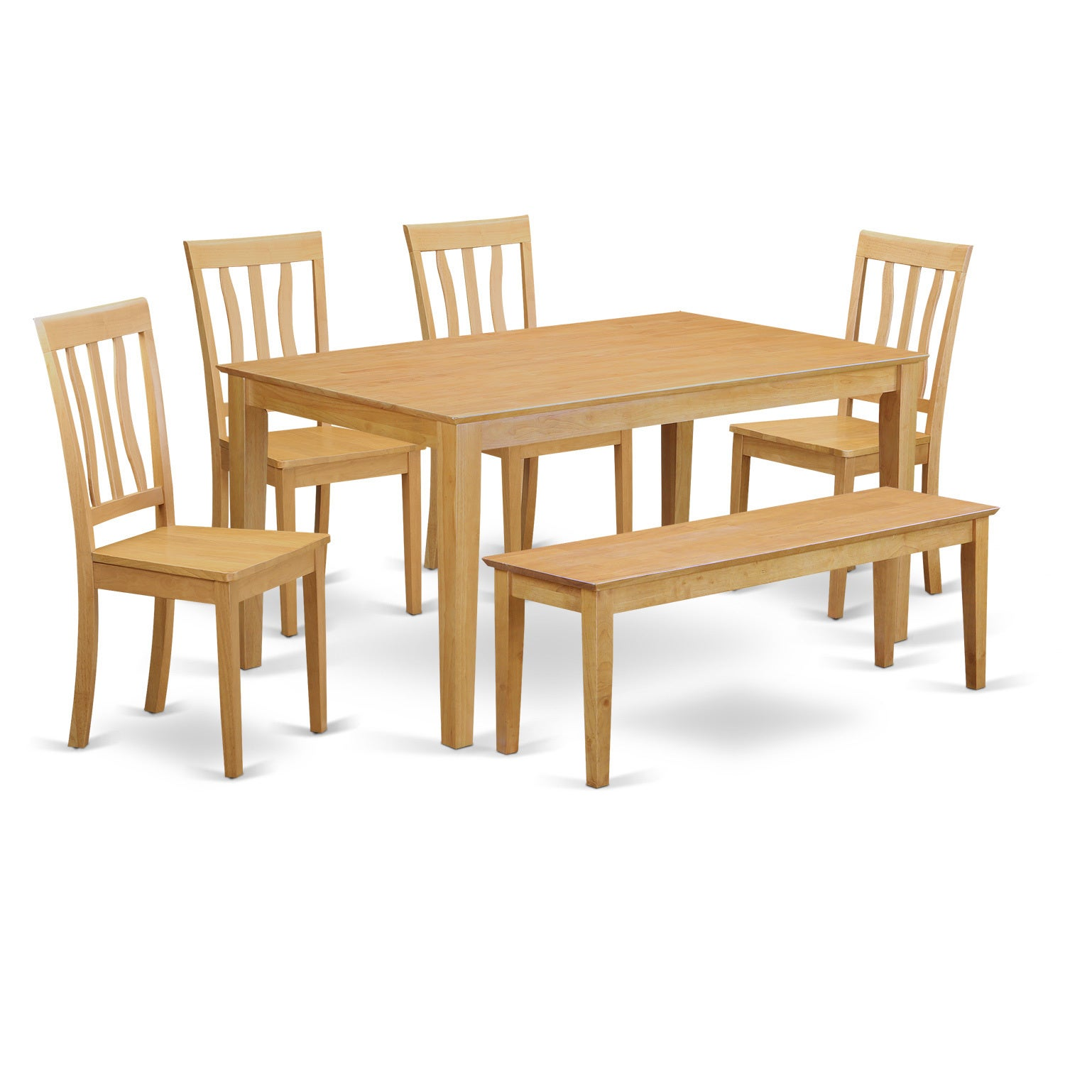 Oak 6-Piece Dining Table Set with Dining Bench (Wood Seat...