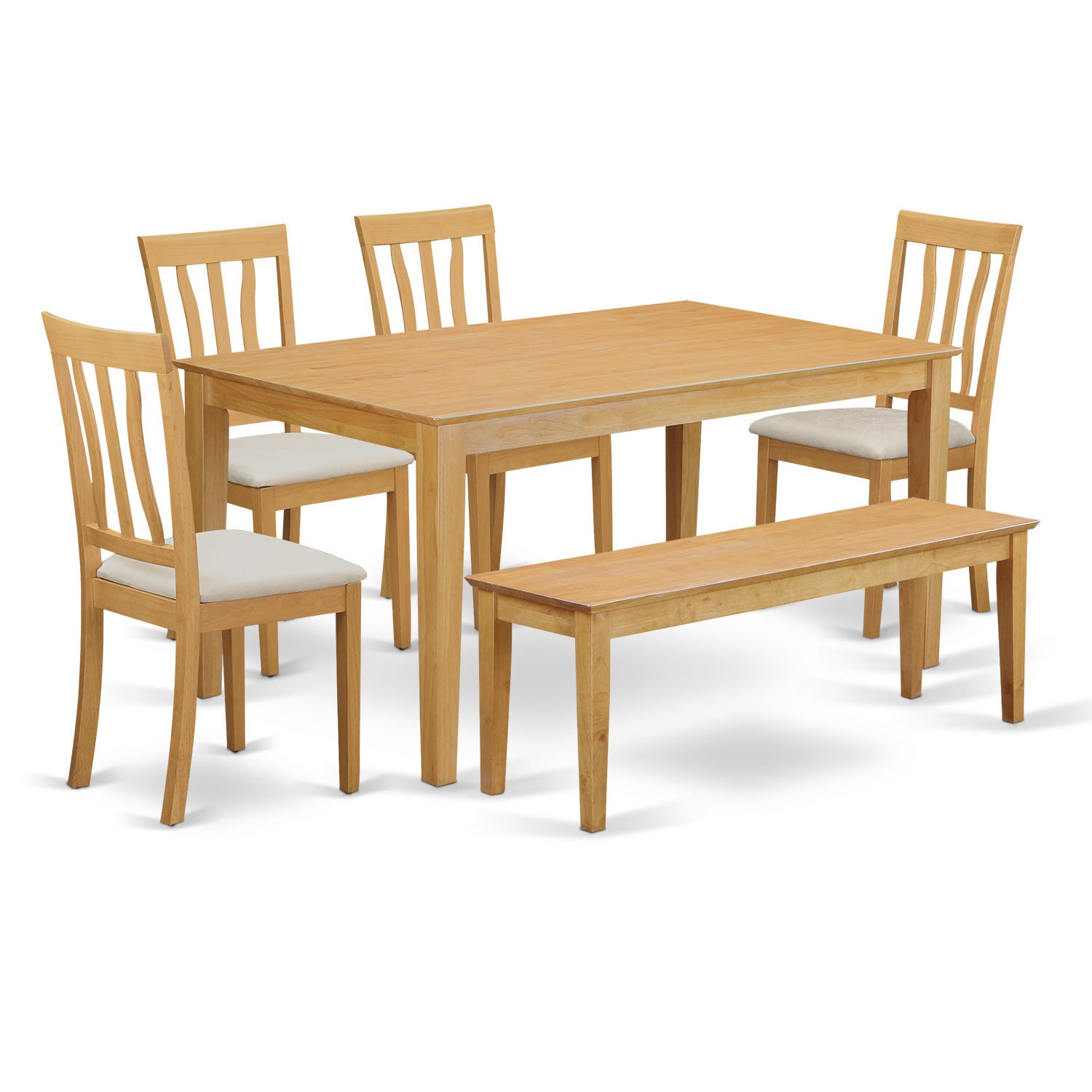 Oak 6-Piece Dining Table Set with Dining Bench (Microfibe...