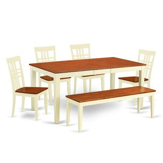 Off-White and Cherry Wood 6-Piece Dining Set with Dining Bench