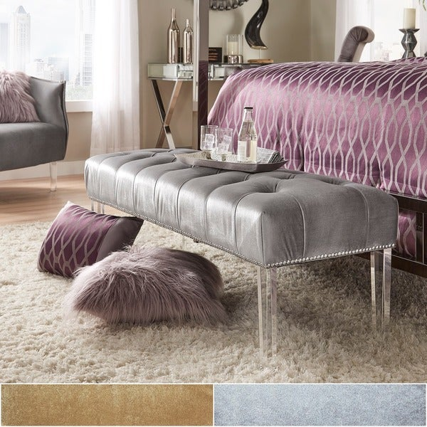 Shop Anya Velvet Nailhead Button Tufted Acrylic Leg Bench