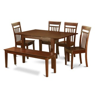 6-Piece Mahogany Wood Dining Room Set with Dining Bench