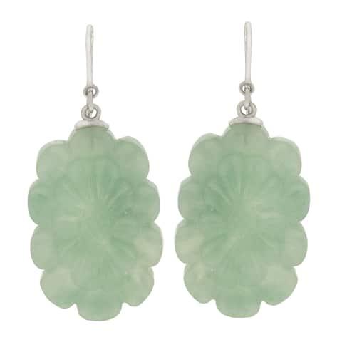 Gems For You Sterling Silver Carved Jade Flower Earrings