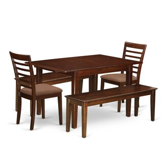 Mila 5-Piece Mahogany Dining Set with 2 Dining Benches