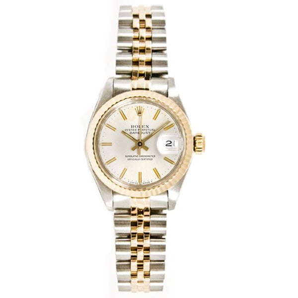 Pre-Owned Rolex Women's Datejust Stainless Steel/ 18k Gold Jubilee Braclet Gold Fluted Bezel Watch