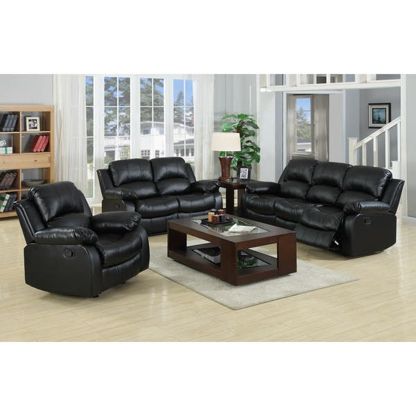 Brilliant Raymond Faux Leather 3 Piece Recliner Sofa Set Andrewgaddart Wooden Chair Designs For Living Room Andrewgaddartcom
