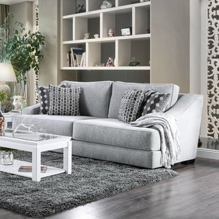 Furniture of America Desera Contemporary Textured Chenille Fabric Grey Sofa