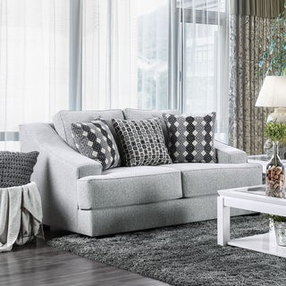 Furniture of America Desera Contemporary Textured Chenille Fabric Grey Loveseat
