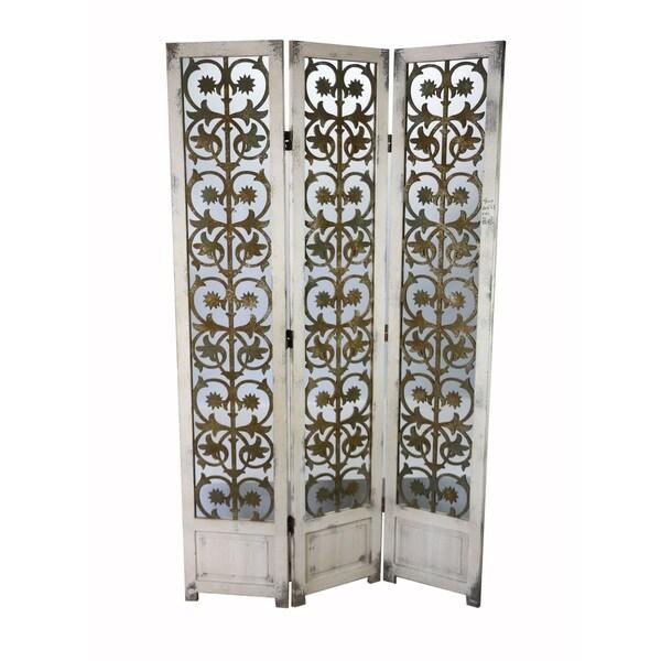 Shop Antique White Venetian Tri Panel Folding Screen Free Shipping