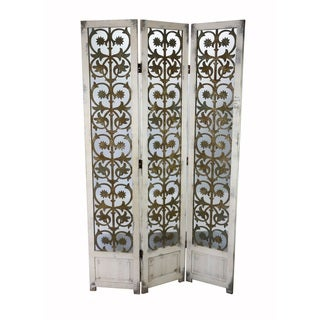 Antique White Venetian Tri-panel Folding Screen