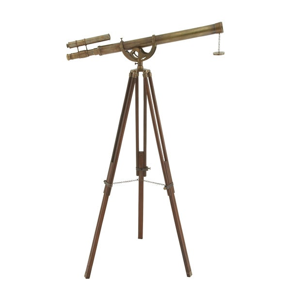 Urban Designs Tarnished Brass 63-inch Handcrafted Decorative Telescope