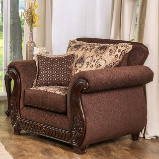 Furniture of America Newland Traditional Solid Wood Fabric Arm Chair