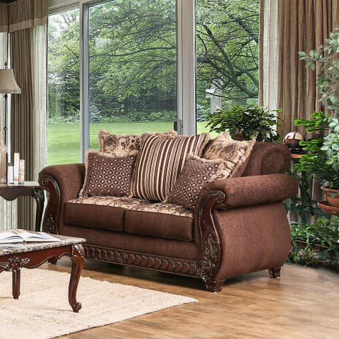 Furniture of America Fova Traditional Fabric Upholstered Loveseat