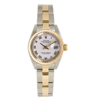 Pre-Owned Rolex Women's 18k Gold over Steel Datejust White Dial Watch