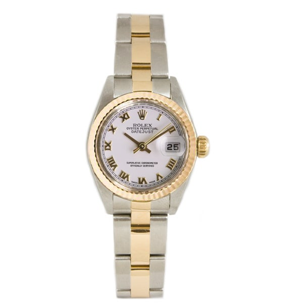 Pre-owned Rolex 18k Gold over Steel Women's Datejust White Dial Watch