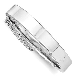 Versil Sterling Silver Children's Rhodium-plated Safety Hinged Bangle