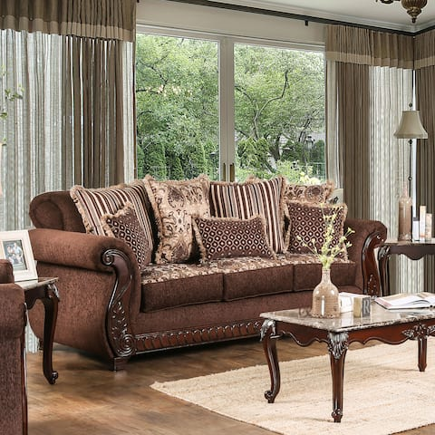 Furniture of America Fova Traditional Upholstered Sofa