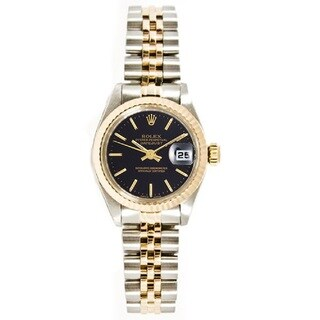 Women's Pre-owned Rolex Stainless Steel & 18K Gold Jubilee Bracelet, Gold Fluted Bezel & Black Index Dial