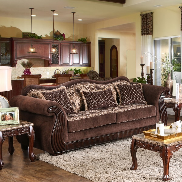 Traditional Living Rooms Furniture Fabric: Shop Furniture Of America Renold Traditional Brown Printed