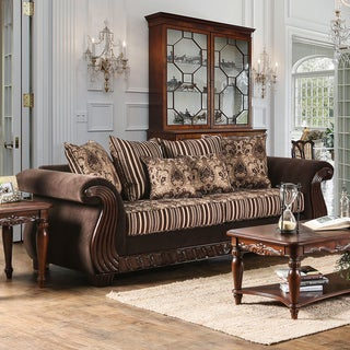 Furniture of America Nollen Traditional Brown Printed Chenille Fabric Sofa