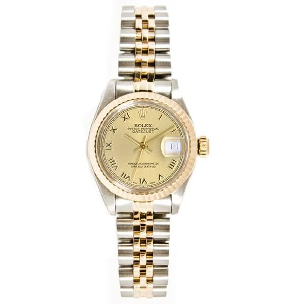 Women's Pre-owned Rolex Stainless Steel & 18K Gold Jubilee Bracelet, Gold Fluted Bezel & Champagne Roman Dial