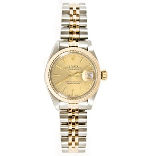 Pre-owned Rolex Ladies 26MM Datejust Stainless Steel & 18K Gold Jubilee Braclet, Gold Fluted Bezel & A Champagne Index Dial