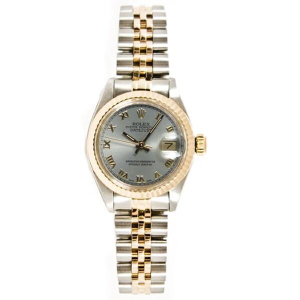 Women's Pre-owned Rolex 26MM Datejust Stainless Steel & 18K Gold Jubilee Bracelet, Gold Fluted Bezel & Silver Roman Dial