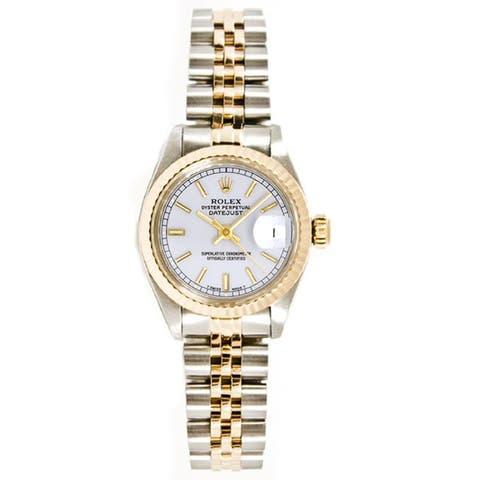 Pre-owned Rolex Stainless Steel/ 18k Gold Women Datejust Jubilee Braclet, Gold Fluted Bezel Watch