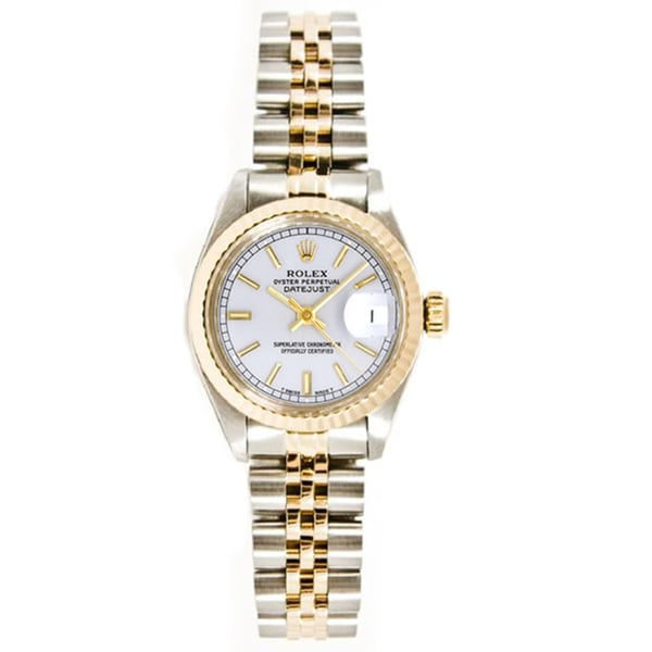 Pre-owned Rolex Stainless Steel/ 18k Gold Women Datejust Jubilee Braclet, Gold Fluted Bezel Watch