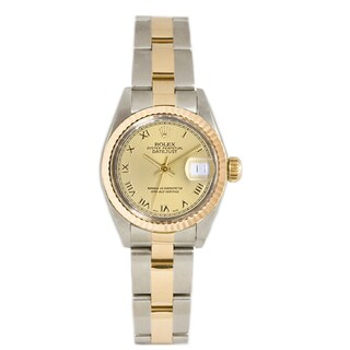 Pre-owned Rolex Stainless Steel & 18k Gold Datejust Oyster Braclet Gold Fluted Bezel Dial