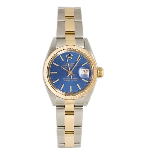 Pre-owned Rolex Ladies 26MM Datejust Stainless Steel & 18K Gold Oyster Braclet, Gold Fluted Bezel & A Blue Index Dial