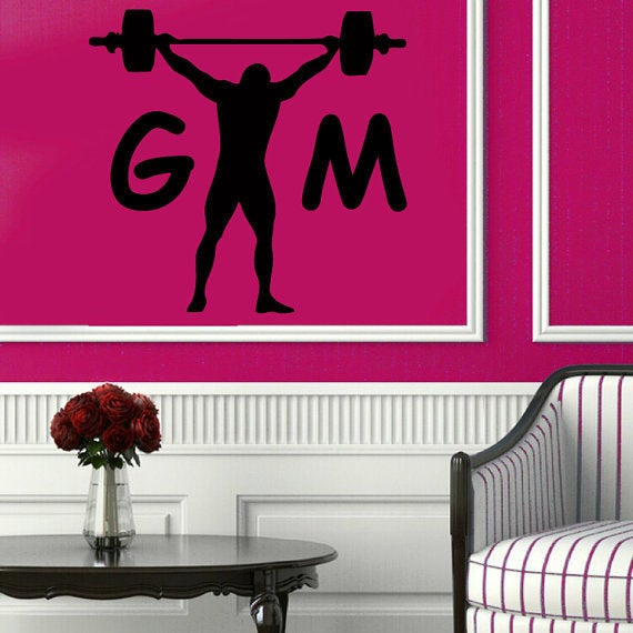 Bodybuilder With Crossbar Decals Sportsman Gym Wall Decor Fitness Vinyl Art Wall Decor Sticker Decal size 33x33 Color Black