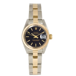 Pre-owned Rolex Ladies 26MM Datejust Stainless Steel & 18K Gold Oyster Braclet, Gold Fluted Bezel & A Black Index Dial