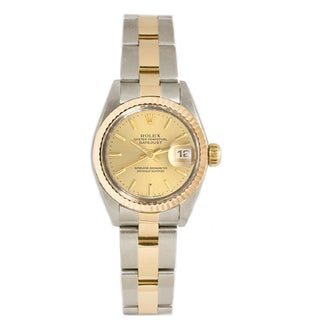 Pre-owned Rolex Ladies 26MM Datejust Stainless Steel & 18K Gold Oyster Braclet, Gold Fluted Bezel & A Champagne Index Dial