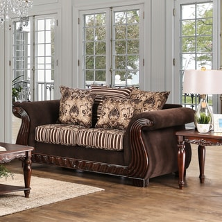 Furniture of America Nollen Traditional Brown Printed Chenille Fabric Loveseat