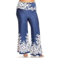 Women's Blue Plus Size Denim and Floral Pattern Pants