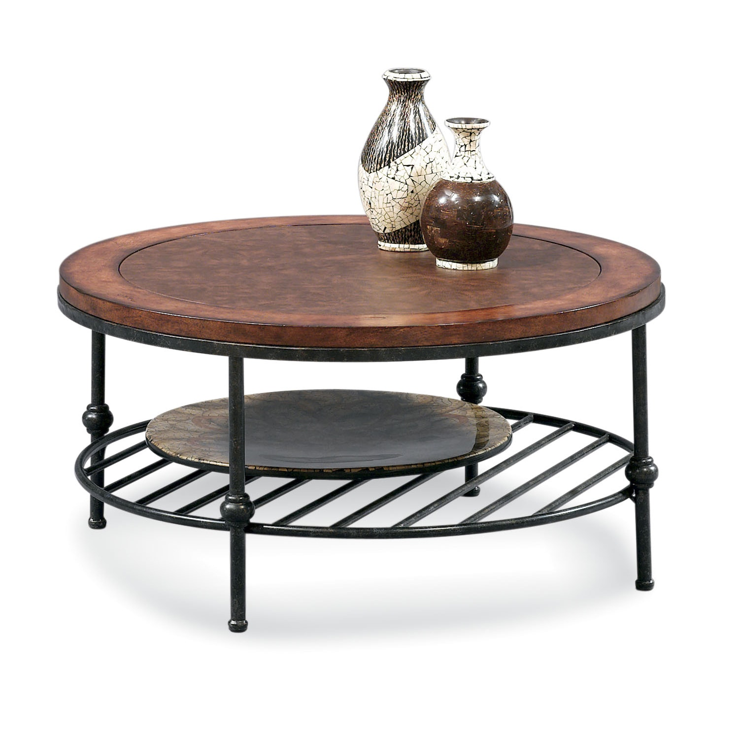 Bassett Mirror Bentley Cocktail Table With Leather Insert (Large, Tobacco & Pewter, Round)