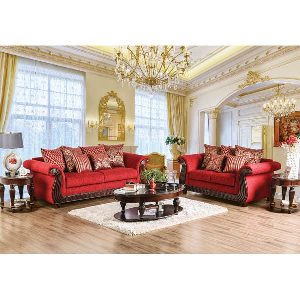 Shop Furniture of America Tix Traditional Red Chenille ...