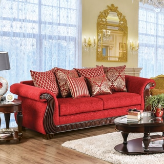 Furniture of America Ferga Traditional Wood Trim Ruby Red Chenille Fabric Sofa