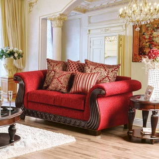 Furniture of America Ferga Traditional Wood Trim Ruby Red Chenille Fabric Loveseat