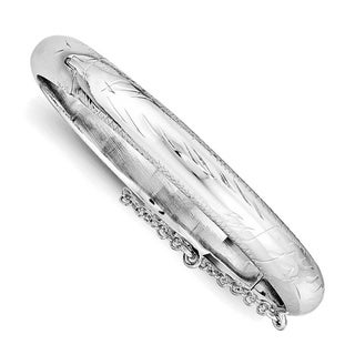 Versil Sterling Silver Child Rho-plated Textured Safety Hinged Bangle