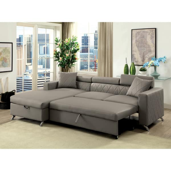 Shop Furniture of America Ged Contemporary Grey Sectional w ...