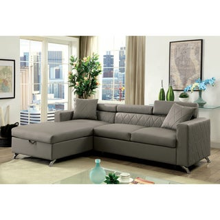 Furniture of America Klenins Contemporary Tufted Grey Leatherette Sectional with Pull-out Bed and Storage Chaise