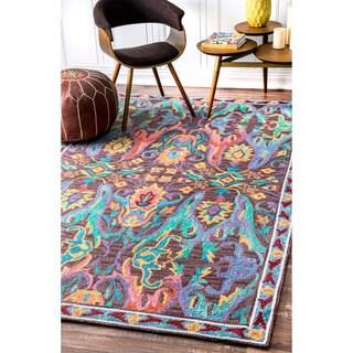nuLOOM Handmade Ikat Floral Multi Rug (5' x 8')