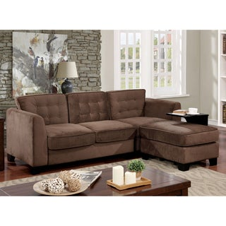 Furniture of America Hiigins Contemporary Tufted Linen Brown 3-piece Sofa and Ottoman Set