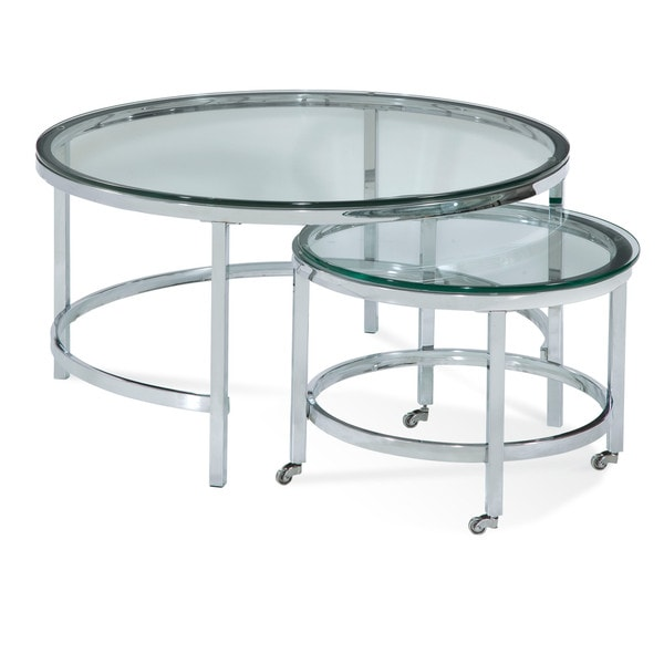 Superbe Bassett Mirror Patinoire Round Cocktail Table Set
