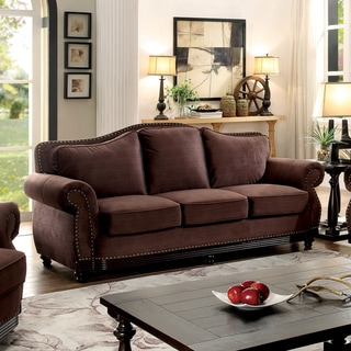 Furniture of America Garland Traditional Camelback Nailhead Brown Fabric Sofa