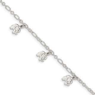 Versil Sterling Silver Children's Polished Elephant Bracelet