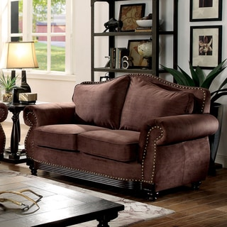 Furniture of America Garland Traditional Camelback Nailhead Brown Fabric Loveseat