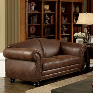 Furniture of America Davids Traditional Nailhead Brown Fabric-like Loveseat