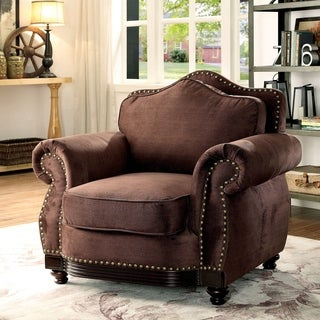 Furniture of America Garland Traditional Camelback Nailhead Brown Fabric Chair
